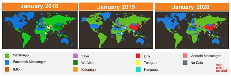 Relative popularity of messaging apps worldwide